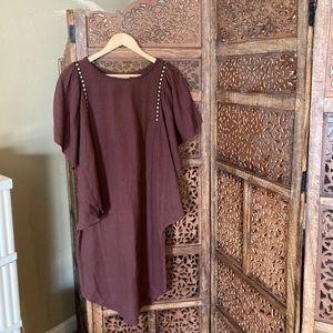 Like New Ulla Johnson Embroidered Maroon Dress
